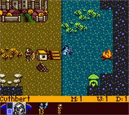 In game image of Heroes of Might and Magic 2 on the Nintendo Game Boy Color.