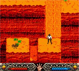 In game image of Indiana Jones and the Infernal Machine on the Nintendo Game Boy Color.