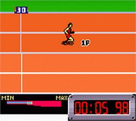 In game image of International Track & Field on the Nintendo Game Boy Color.