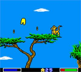 In game image of Lion King: Simba's Mighty Adventure on the Nintendo Game Boy Color.