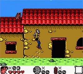 In game image of Lucky Luke on the Nintendo Game Boy Color.