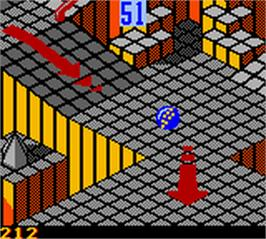In game image of Marble Madness on the Nintendo Game Boy Color.