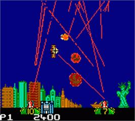 In game image of Missile Command on the Nintendo Game Boy Color.