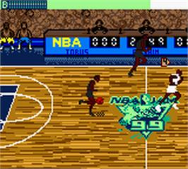 In game image of NBA Jam 99 on the Nintendo Game Boy Color.