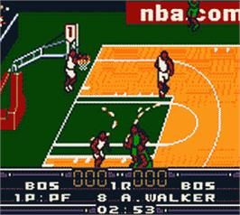 In game image of NBA in the Zone 2000 on the Nintendo Game Boy Color.