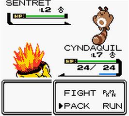 In game image of Pokemon: Crystal Version on the Nintendo Game Boy Color.