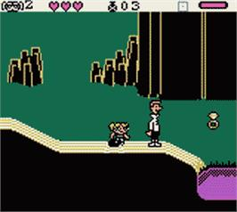 In game image of Powerpuff Girls: Battle Him on the Nintendo Game Boy Color.