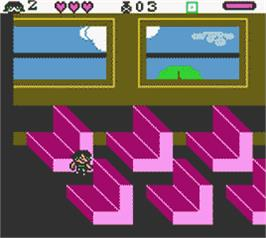 In game image of Powerpuff Girls: Paint the Townsville Green on the Nintendo Game Boy Color.