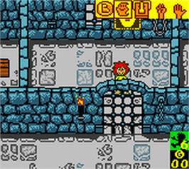 In game image of Pumuckls Abenteuer im Geisterschloss on the Nintendo Game Boy Color.