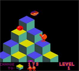 In game image of Q*Bert on the Nintendo Game Boy Color.