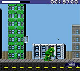 In game image of Rampage: World Tour on the Nintendo Game Boy Color.