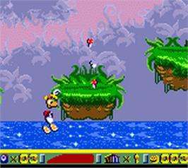 In game image of Rayman 2: The Great Escape on the Nintendo Game Boy Color.