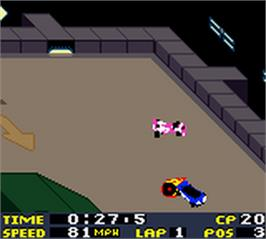 In game image of San Francisco Rush 2049 on the Nintendo Game Boy Color.