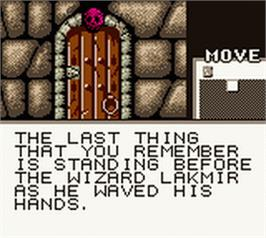 In game image of Shadowgate Classic on the Nintendo Game Boy Color.