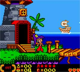 In game image of Shantae on the Nintendo Game Boy Color.