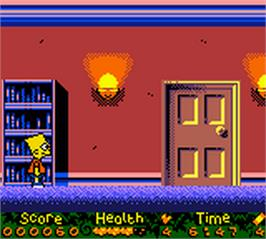 In game image of Simpsons: Night of the Living Treehouse of Horror on the Nintendo Game Boy Color.