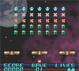 In game image of Space Invasion on the Nintendo Game Boy Color.
