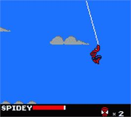 In game image of Spider-Man on the Nintendo Game Boy Color.