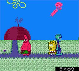 In game image of SpongeBob SquarePants: Legend of the Lost Spatula on the Nintendo Game Boy Color.