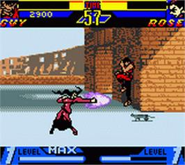 In game image of Street Fighter Alpha: Warriors' Dreams on the Nintendo Game Boy Color.