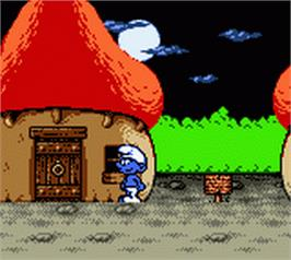 In game image of The Smurfs Nightmare on the Nintendo Game Boy Color.