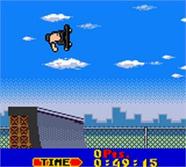 In game image of Tony Hawk's Pro Skater on the Nintendo Game Boy Color.