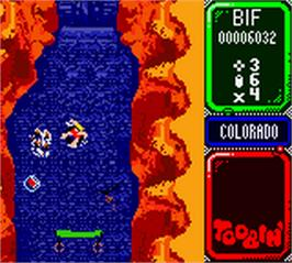 In game image of Toobin' on the Nintendo Game Boy Color.