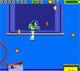 In game image of Toy Story 2: Buzz Lightyear to the Rescue on the Nintendo Game Boy Color.