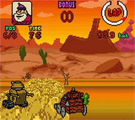 In game image of Wacky Races on the Nintendo Game Boy Color.