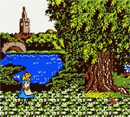 In game image of Walt Disney's Alice in Wonderland on the Nintendo Game Boy Color.