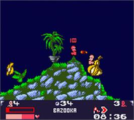 In game image of Worms Armageddon on the Nintendo Game Boy Color.