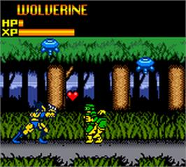 In game image of X-Men: Mutant Wars on the Nintendo Game Boy Color.