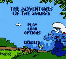 Title screen of Adventures of the Smurfs on the Nintendo Game Boy Color.