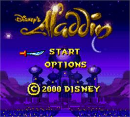 Title screen of Aladdin on the Nintendo Game Boy Color.