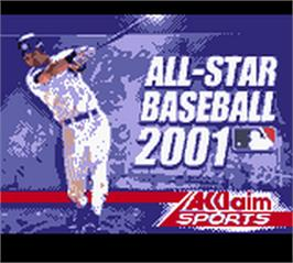 Title screen of All-Star Baseball 2001 on the Nintendo Game Boy Color.
