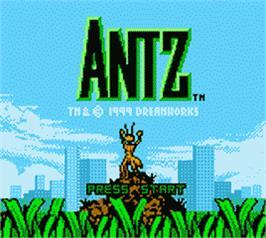 Title screen of Antz on the Nintendo Game Boy Color.