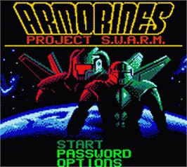 Title screen of Armorines: Project S.W.A.R.M. on the Nintendo Game Boy Color.