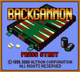 Title screen of Backgammon on the Nintendo Game Boy Color.