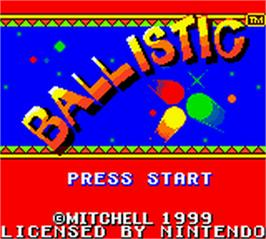 Title screen of Ballistic on the Nintendo Game Boy Color.