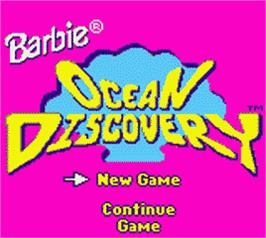 Title screen of Barbie's Ocean Discovery on the Nintendo Game Boy Color.