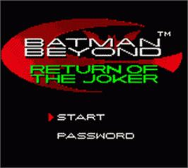 Title screen of Batman Beyond: Return of the Joker on the Nintendo Game Boy Color.