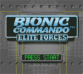 Title screen of Bionic Commando: Elite Forces on the Nintendo Game Boy Color.