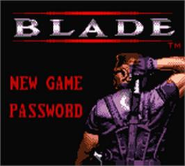 Title screen of Blade on the Nintendo Game Boy Color.