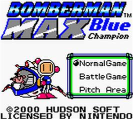 Title screen of Bomberman Max: Blue Champion Edition on the Nintendo Game Boy Color.