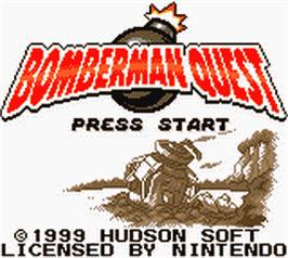 Title screen of Bomberman Quest on the Nintendo Game Boy Color.