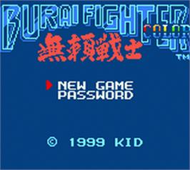 Title screen of Burai Fighter on the Nintendo Game Boy Color.