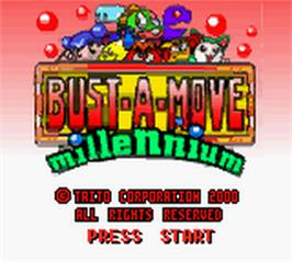 Title screen of Bust a Move Millennium on the Nintendo Game Boy Color.