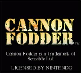 Title screen of Cannon Fodder on the Nintendo Game Boy Color.