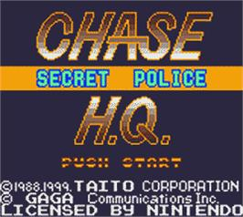 Title screen of Chase H.Q. on the Nintendo Game Boy Color.