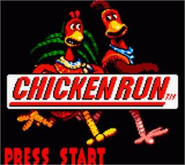 Title screen of Chicken Run on the Nintendo Game Boy Color.